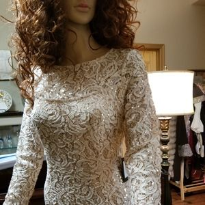 NWT Full Length Lace and Sequin Dress